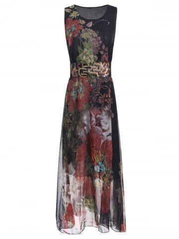 Trendy Sleeveless Printed Chiffon Maxi Dress With Belt
