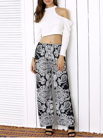 Unique Cold Shoulder Crop Top and Palazzo Pants Twinset