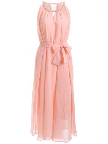 Fashion Chain Keyhole Collar Chiffon Maxi Dress