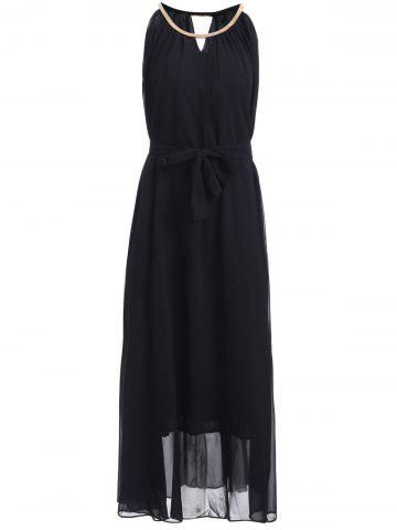 Fancy Chain Keyhole Collar Chiffon Maxi Dress