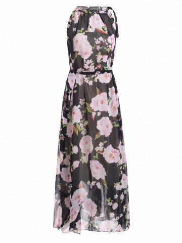 Latest Sleeveless Floral Print Ruffle Neck Chiffon Maxi Dress