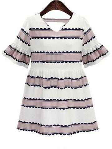 Affordable Plus Size Bell Sleeve Casual Striped Dress