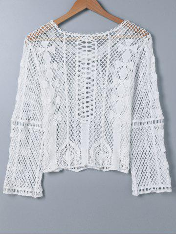 Affordable Crochet Embroidery Long Sleeve Blouse