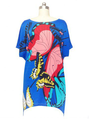 Affordable Loose Butterfly Printed Bat Sleeve T-Shirt