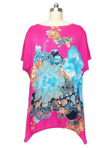 Online Loose Flower Printed Bat Sleeve T-Shirt
