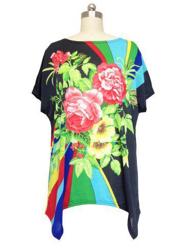 Outfit Loose Begonia Printed Bat Sleeve T-Shirt