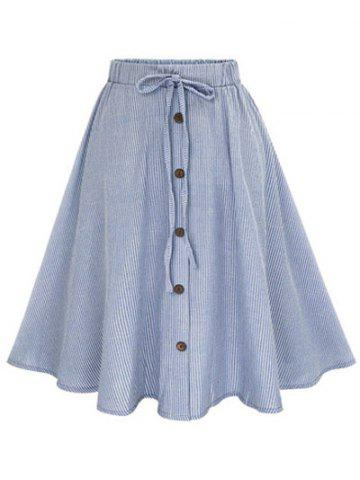 Shop Pinstripe Button Bowknot A Line Skater Skirt - ONE SIZE LIGHT BLUE Mobile