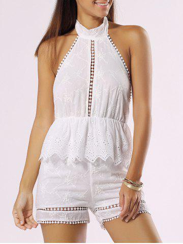 Fancy Halter Backless Cut Out Ruffle Romper WHITE XL