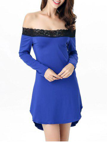 Hot Off-The-Shoulder Laciness High Low Babydoll