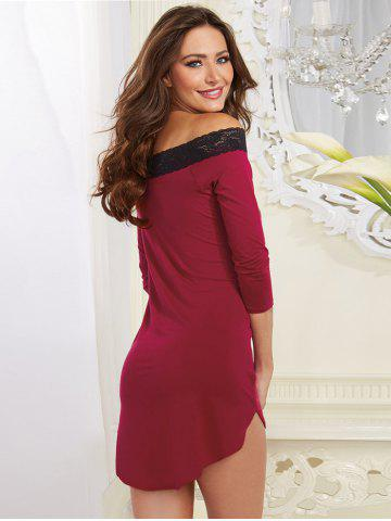 Online Off-The-Shoulder Laciness High Low Babydoll - M PURPLE Mobile