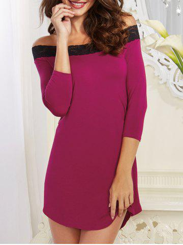 Buy Off-The-Shoulder Laciness High Low Babydoll - M PURPLE Mobile
