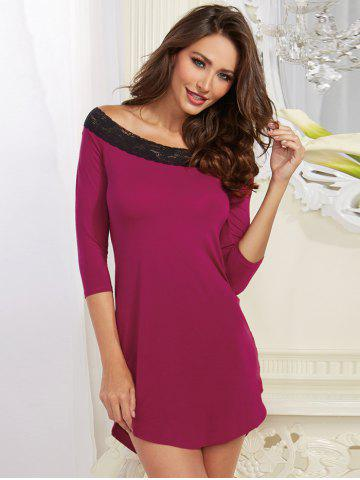 Outfit Off-The-Shoulder Laciness High Low Babydoll - M PURPLE Mobile