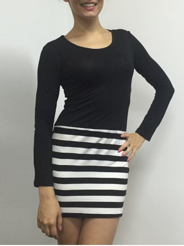 Cheap Striped Bodycon Long Sleeve Dress WHITE AND BLACK M