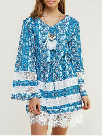 Discount Chic Long Sleeve Printed Dress WATER BLUE XL