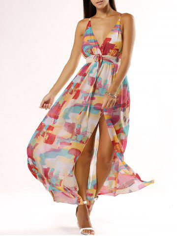 Buy Chic Spaghetti Strap Low Cut Print Dress