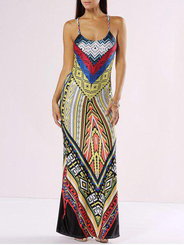Buy Chic Spaghetti Strap Cut Out Print Maxi Dress YELLOW S