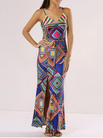 New Chic Spaghetti Strap Slit Cut Out Geometric Print Dress