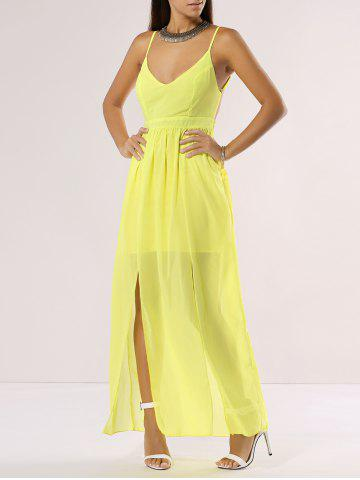 Trendy Chiffon Maxi Plunge Backless Summer Slip Dress