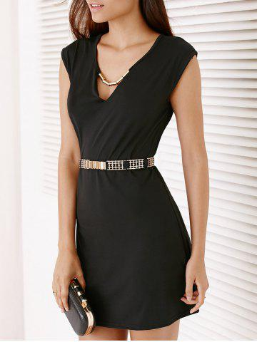 Outfits Short Sleeve Hollow Out Short Party Dress - M BLACK Mobile