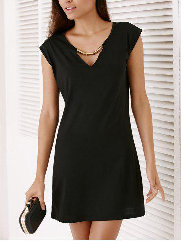 Fashion Short Sleeve Hollow Out Short Party Dress - M BLACK Mobile
