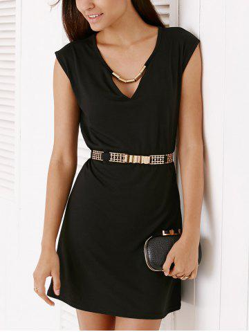 Hot Short Sleeve Hollow Out Short Party Dress - M BLACK Mobile