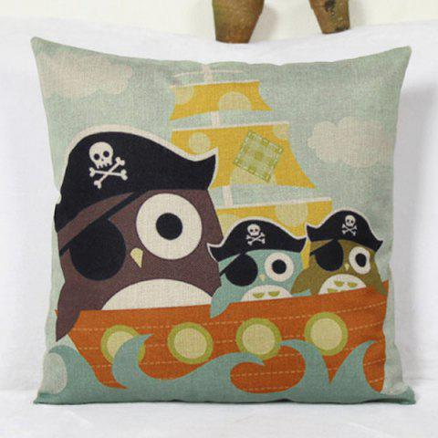 Unique Group Pirate Owl Ship Cartoon Pattern Flax Pillow Case LIGHT BLUE