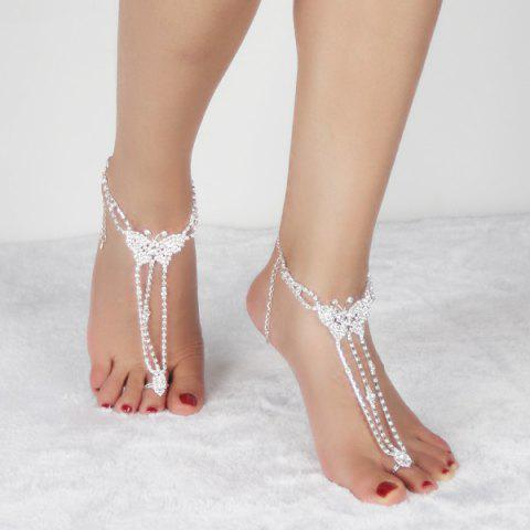 Online Pair of Rhinestoned Butterfly Anklets - SILVER  Mobile