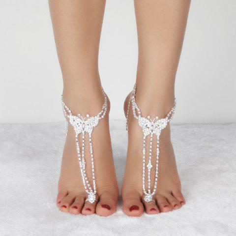 Unique Pair of Rhinestoned Butterfly Anklets - SILVER  Mobile
