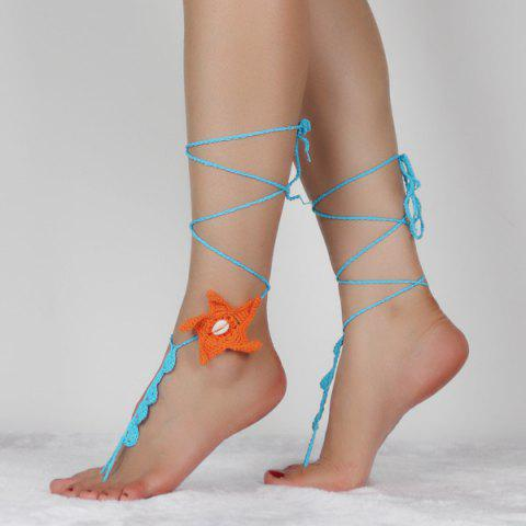 Outfit Handmade Starfish Crochet Anklets For Women - LAKE BLUE  Mobile