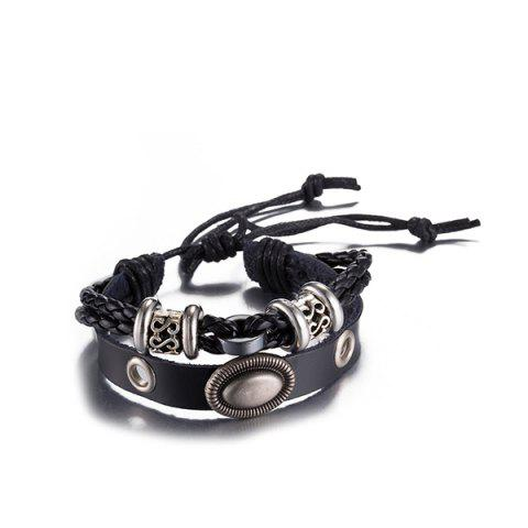 Outfits Gothic Style Faux Leather Adjustable Bracelet BLACK