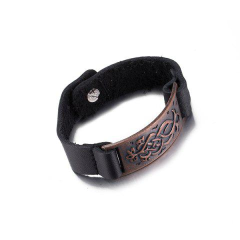 Shops Punk Etched Rectangle Faux Leather Bracelet - RED BROWN  Mobile