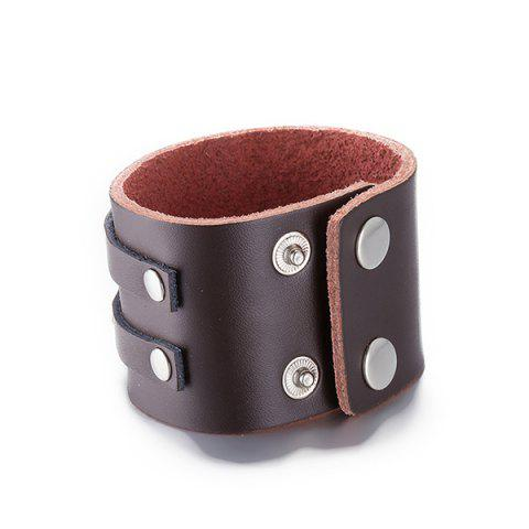 Hot Trendy Faux Leather Adorn Bracelet - BROWN  Mobile
