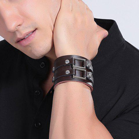 Latest Trendy Faux Leather Adorn Bracelet - BROWN  Mobile