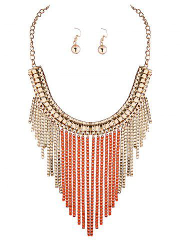 Online A Suit of Chic Box Chain Necklace and Earrings