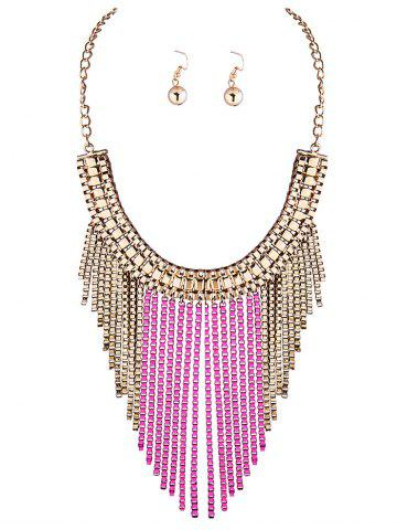 Discount A Suit of Irregular Fringed Chain Necklace and Earrings PINK