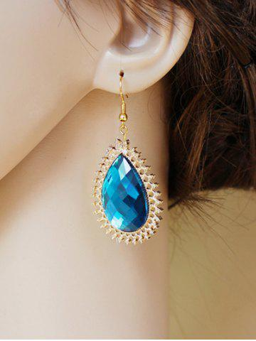 New Pair of Water Drop Faux Sapphire Filigree Earrings