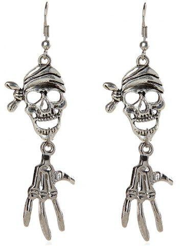 Fancy Pair of Halloween Pirate Skull Earrings SILVER