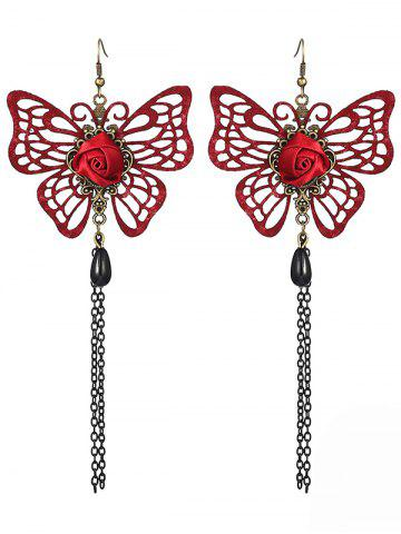 Outfit Pair of Hollowed Butterfly Rose Chain Tassel Earrings