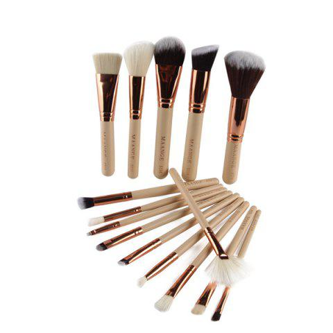 Outfit 15 Pcs Nylon Facial Eye Lip Makeup Brushes Set COMPLEXION
