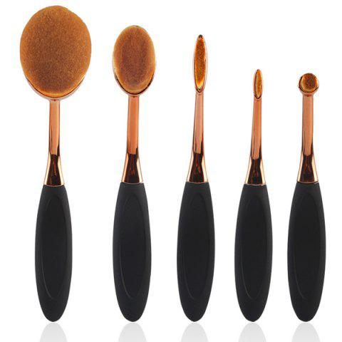 5 Pcs Toothbrush Shape Nylon Makeup Brushes Set - Rose Gold - Eu Plug