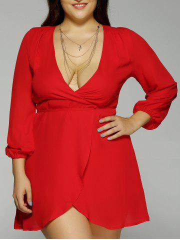 Outfit Plus Size Plunging Neck Long Sleeve Dress