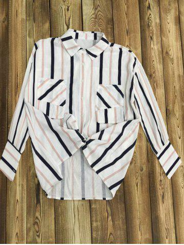 Cheap Long Sleeve Striped Color Block Shirt