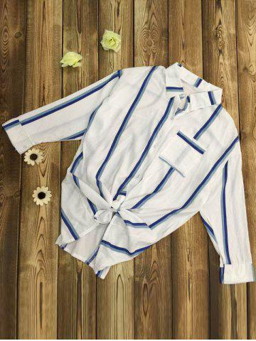 Store Long Sleeve Striped Front Tie Shirt