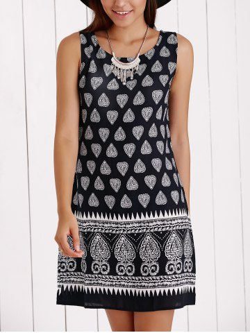 Outfits Vintage Scoop Neck Tribal Print Shift Dress
