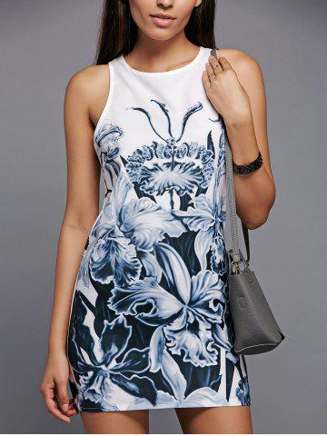 Sale Round Neck Floral Printed Shift Tank Top Dress WHITE M