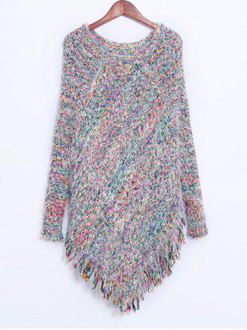 Sale Colorful Shaggy Fringed Sweater