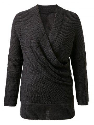 Shop V-Neck Solid Color Knitted Sweater BLACK ONE SIZE