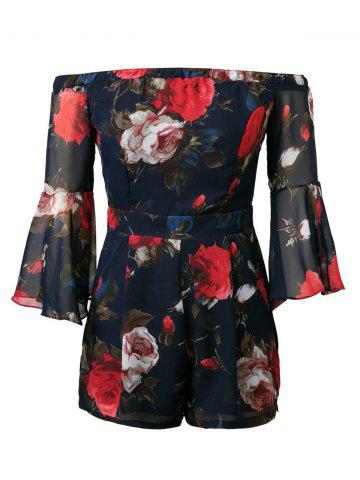 Fancy Off-The-Shoulder Flowers Strapless Bell Sleeve Romper PURPLISH BLUE L