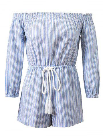 Outfit Striped Drawstring Off-The-Shoulder Romper