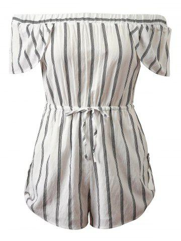 Outfits Off-The-Shoulder Cap Sleeves Striped Romper